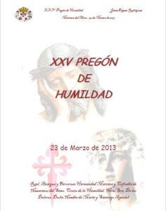 Pregón Humildad 2913, de D. Jaime López Rodríguez.